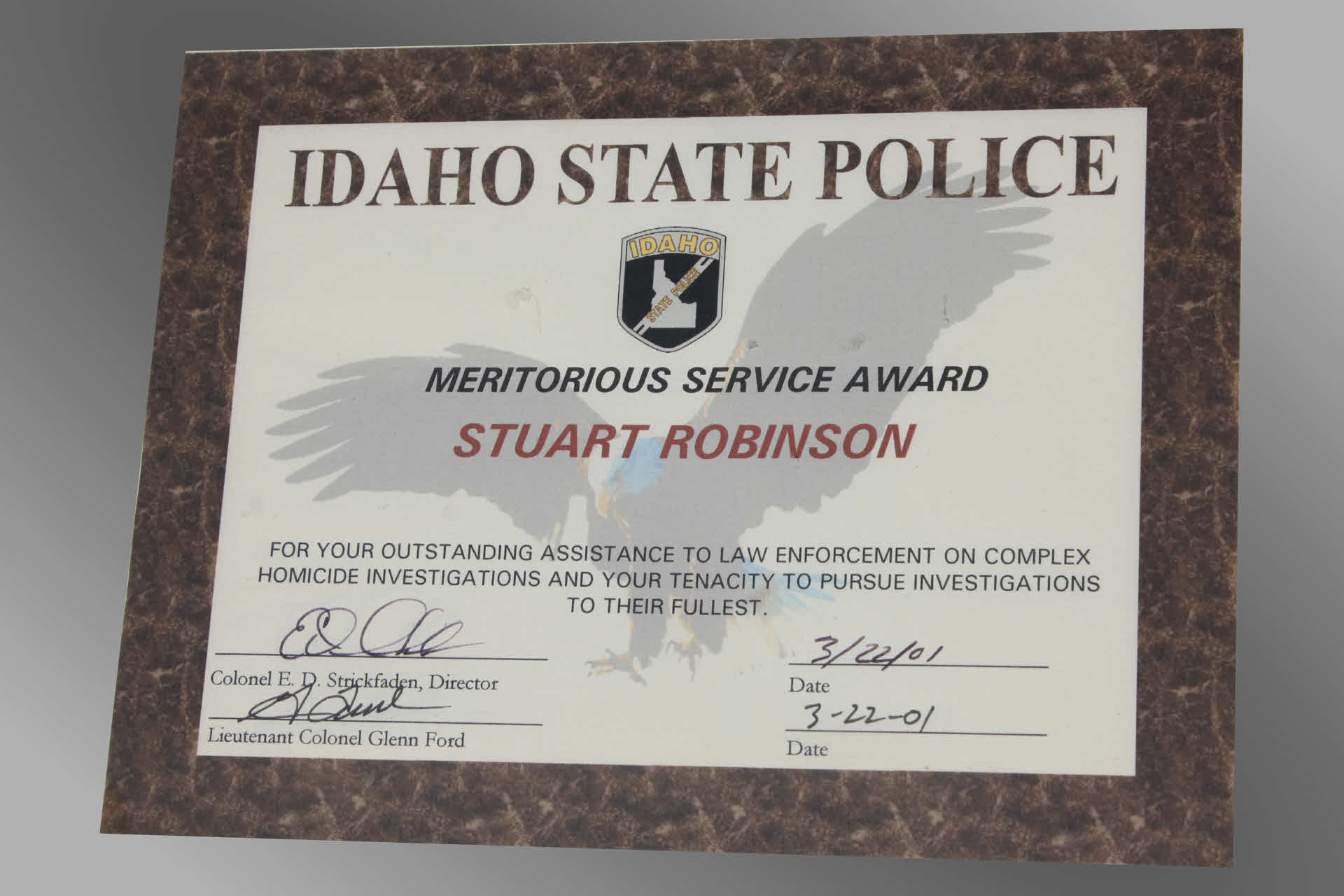 Idaho State Police Investigations Award