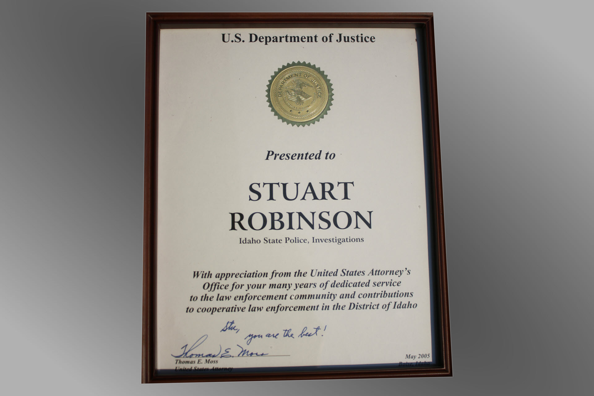 US Attorney's Office Investigation Service Award